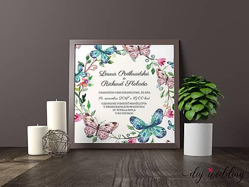 Tlačené svadobné oznámenie Motýle