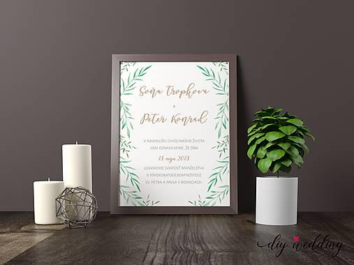 Tlačené svadobné oznámenie Pod palmou
