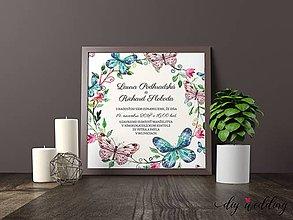 Papiernictvo - Tlačené svadobné oznámenie Motýle - 8889258_