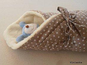 Textil - Klasická zavinovačka pre novorodenca zimná 100% MERINO TOP Hviezda béžová - 8892617_