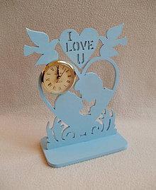 Hodiny - Drevené hodiny Čas na lásku (Modrá) - 8890528_