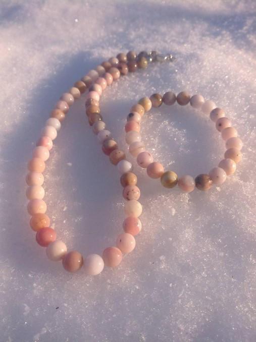 Ružový andský opál - sada šperkov