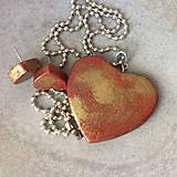 Sady šperkov - Betónový GOLDEN set HEART 03 - 8891820_
