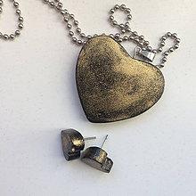Sady šperkov - Betónový GOLDEN set HEART 01 - 8891389_