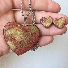 Sady šperkov - Betónový GOLDEN set HEART 03 - 8891816_
