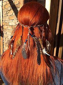 Ozdoby do vlasov - Indiánska čelenka v Hippie štýle - 8890577_