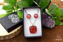 Sady šperkov - Oranžová trblietavá sada sklenených šperkov - 8890378_