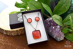 Sady šperkov - Oranžová trblietavá sada sklenených šperkov - 8890379_