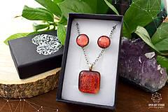 Sady šperkov - Oranžová trblietavá sada sklenených šperkov - 8890380_