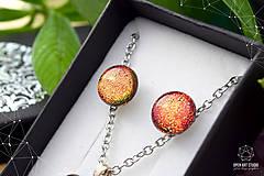Sady šperkov - Oranžová trblietavá sada sklenených šperkov - 8890381_