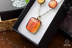 Sady šperkov - Oranžová trblietavá sada sklenených šperkov - 8890382_