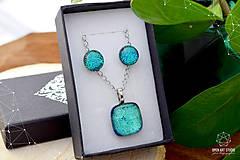 Sady šperkov - Tyrkysová sada sklenených šperkov - 8890945_