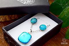 Sady šperkov - Tyrkysová sada sklenených šperkov - 8890947_