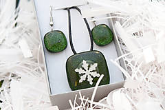 Sady šperkov - Aventurínové sklo so snehovou vločkou - sada vianočných šperkov - 8890993_
