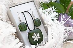 Sady šperkov - Aventurínové sklo so snehovou vločkou - sada vianočných šperkov - 8890994_