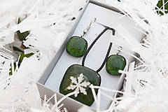 Sady šperkov - Aventurínové sklo so snehovou vločkou - sada vianočných šperkov - 8890995_