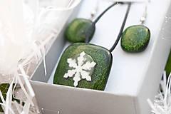 Sady šperkov - Aventurínové sklo so snehovou vločkou - sada vianočných šperkov - 8890996_