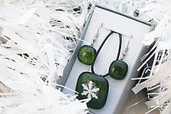 Sady šperkov - Aventurínové sklo so snehovou vločkou - sada vianočných šperkov - 8890998_