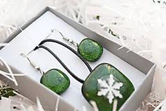 Sady šperkov - Aventurínové sklo so snehovou vločkou - sada vianočných šperkov - 8890999_