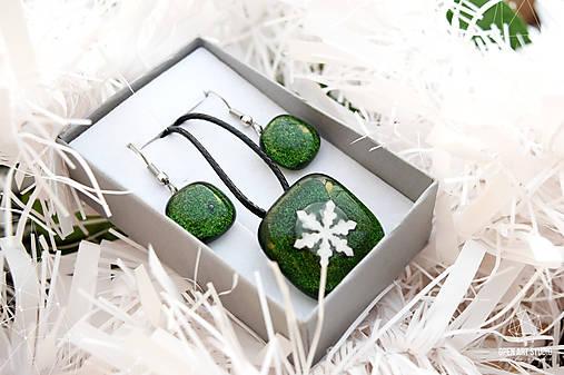 Aventurínové sklo so snehovou vločkou - sada vianočných šperkov