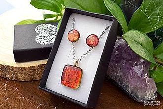 Sady šperkov - Oranžová trblietavá sada sklenených šperkov - 8890383_