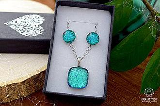 Sady šperkov - Tyrkysová sada sklenených šperkov - 8890946_