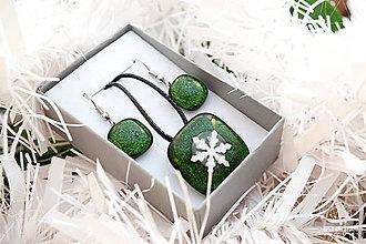 Sady šperkov - Aventurínové sklo so snehovou vločkou - sada vianočných šperkov - 8890992_
