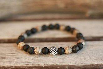Šperky - Ag 925 pánsky náramok z minerálu onyx, láva, jaspis (maifanit) - 8889741_
