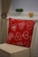 White folklore hearts pillow