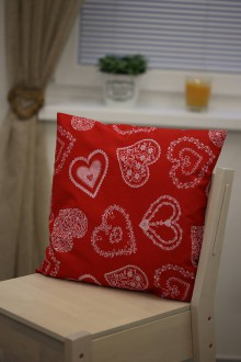 Úžitkový textil - White folklore hearts pillow - 8895721_