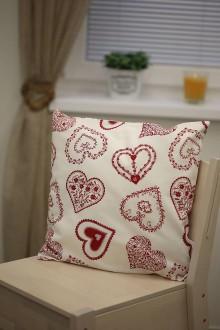 Úžitkový textil - Red folklore hearts pillow - 8895729_