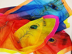 Šatky - Hodvábna maxi šatka Páv multicolor - 8893919_