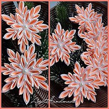 Dekorácie - vianočná vločka kanzashi ,, biela marhuľa ,, - 8896676_
