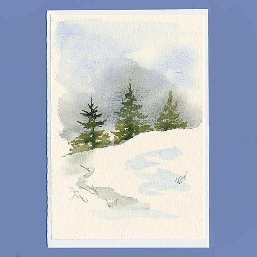 Ručne maľovaná pohľadnica - Stromčeky