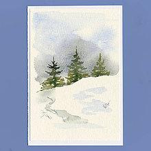 Papiernictvo - Ručne maľovaná pohľadnica - Stromčeky - 8896230_