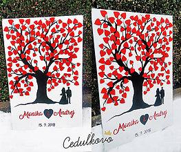 Obrazy - Svadobný strom so srdiečkami - 8893800_