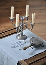 Úžitkový textil - ľanová štóla s vintage motívom (sivomodrá) - 8893179_
