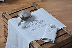 Úžitkový textil - ľanová štóla s vintage motívom (sivomodrá) - 8893188_