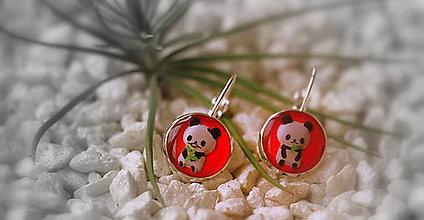 Náušnice - pandičky (červené) - 8897089_