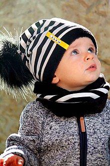 Detské súpravy - zimný Obojstranný set s menom a odopínacím brmbolcom black stripes & black - 8893263_