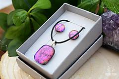 Sady šperkov - Fialovo-ružová sada sklenených šperkov - 8893353_