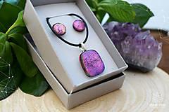 Sady šperkov - Fialovo-ružová sada sklenených šperkov - 8893355_