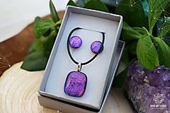 Sady šperkov - Fialovo-ružová sada sklenených šperkov - 8893356_