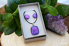 Sady šperkov - Fialovo-ružová sada sklenených šperkov - 8893359_