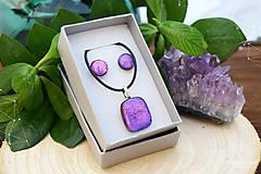 Sady šperkov - Fialovo-ružová sada sklenených šperkov - 8893360_