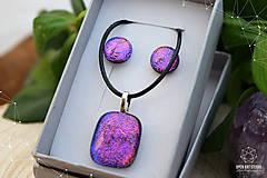 Sady šperkov - Fialovo-ružová sada sklenených šperkov - 8893361_