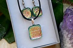 Sady šperkov - Ružovo-zeleno-zlatá sada sklenených šperkov - 8893556_