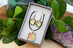 Sady šperkov - Ružovo-zeleno-zlatá sada sklenených šperkov - 8893557_