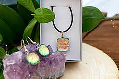 Sady šperkov - Ružovo-zeleno-zlatá sada sklenených šperkov - 8893558_