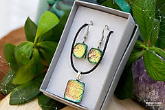 Sady šperkov - Ružovo-zeleno-zlatá sada sklenených šperkov - 8893560_